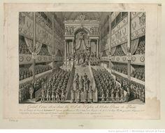 Grand Trône élevé dans la Nef de l'Eglise de Notre Dame de Paris. Pour la Cérémonie du Sacre de Napoléon I.er Empereur des Français, et Roi d'Italie, le 11 Frimaire An 13, S. S. le Pape Pie VII ayant placé l'Empereur et l'Impératrice sur le grand Trône après le Graduel monte les degrés en disant la Prière, in hoc imperator [lire imperii] solio : [estampe]