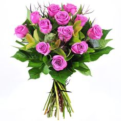 Bouquet of 12 Purple Roses