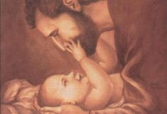 """a print of St. Joseph with baby Jesus. I never think of the Virgin Mary and St Joseph as """"mom and dad"""".it makes me feel closer to them just knowing that they loved, cuddled and played with the baby Jesus just like I did my own babies. Religious Pictures, Jesus Pictures, Litany Of St Joseph, Saint Joseph, Catholic Radio, Les Religions, Catholic Saints, Catholic Art, Pray For Us"""