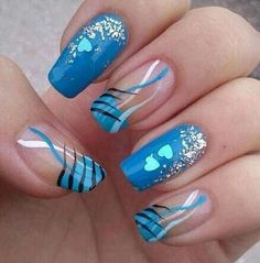 18 Creative Blue Nail Art Designs-Making a Cute nails is a obsession for some… Fancy Nails, Pretty Nails, Sexy Nails, Nail Factory, Nail Art For Girls, French Nail Art, Blue Nail Designs, Blue Design, Cool Nail Art
