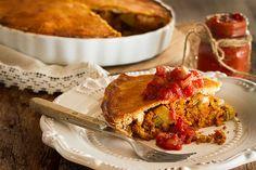Onion Pie, Potato Onion, Seitan, La Tourtiere, Yellow Potatoes, Homemade Ketchup, White Mushrooms, Dry Mustard, Tomato Paste