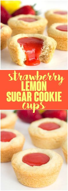 ***Strawberry Lemon Sugar Cookie Cups ~ tender sugar cookies baked in a cupcake tin. They're filled with a sweet and tangy strawberry lemon curd and make the perfect summertime cookie!