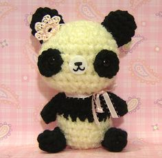 Amigurumi Panda Bear with pink flower by Amigurumi Kingdom, via Flickr