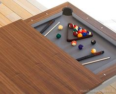 dinner table and pool table/poker table in 1.