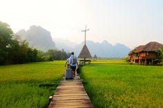 Arrozales en la zona de Vang Vieng Laos Travel
