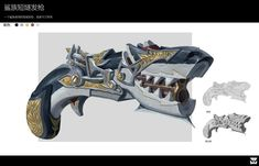 ArtStation - 2018年个人练习, W LUO Anime Weapons, Sci Fi Weapons, Weapon Concept Art, Weapons Guns, Fantasy Armor, Fantasy Weapons, Character Art, Character Design, Steampunk Weapons