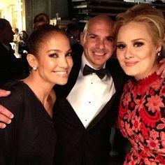 JLo with Pitbull and Adele J Lo Fashion, Hip Hop Fashion, Jennifer Lopez, Adele Grammys, Grammys 2013, Pitbull The Singer, Celebrities Exposed, Solo Performance, Awkward Moments