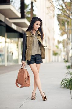 Leather sleeves, leather shorts