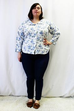 Plus Size - Vintage Floral Knit Scalloped Collar Blouse by TheCurvyElle, $18.00