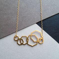 geometric jewelry geometric necklace gold by WildThingStudio