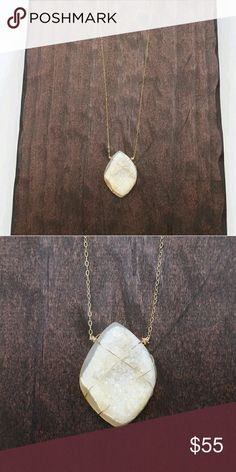 Gold Druzy Necklace Handmade gold druzy necklace wrapped in 14k gold filled wire presented on a long 14k gold filled chain. Acalia's Designs Jewelry Necklaces