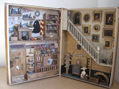 Not even thinking about trying this one. Harry Potter Miniatures, Harry Potter Dolls, Harry Potter Room, Wooden Dollhouse Kits, Haunted Dollhouse, Dollhouse Miniatures, Miniature Rooms, Miniature Crafts, Miniature Houses