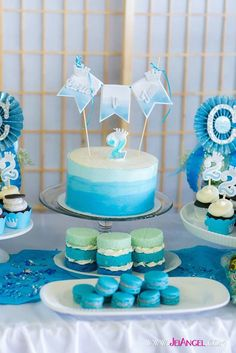 Blue Ombre Second Birthday Party {Styling, Decor, Planning, Ideas} Torta Baby Shower, Tortas Baby Shower Niña, Baby Shower Niño, Frozen Birthday Party, Prince Birthday Party, Boy Birthday Parties, Second Birthday Boys, Blue Birthday, Nautical Birthday Cakes