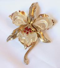 Trifari Jelly Belly Orchid Brooch 1965 Re-issue Book Piece