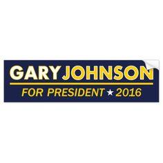 Gary Johnson for President 2016 Bumper Sticker #Election2016  #teamgov…
