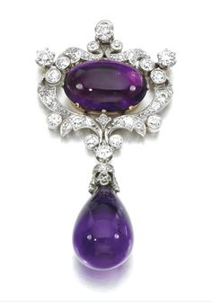 Amethyst and diamond brooch/pendant, Pauling Farnham for Tiffany & Co, circa 1890. In the Louis XVI revival taste, the surmount centering on a cabochon amethyst within an acanthus scroll surround set with circular cut diamonds, suspending an amethyst drop to a diamond set cap. Signed Tiffany & Co