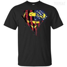 Superman US Flag Men Dark Tee-Apparel-TEEPEAT #prints #printable #painting #canvas #empireprints #teepeat