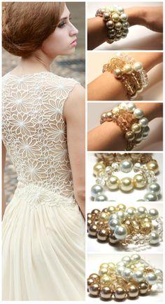 Cream Peach Crystal and Pearl Bracelet. 16mm Swarovski Pearls. 12mm Swarovski Crystals. Big Bold Jewelry #wedding #bride #cream #pearl
