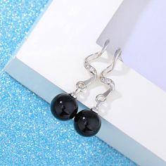 Brincos Women Drop Earrings - Black
