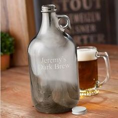 Gunmetal Beer Growler Personalized