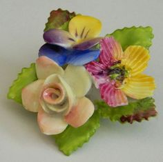 Lovely vintage bone china flower brooch Made in England