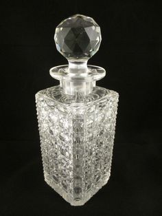 Victorian Square Glass Hobnail Cut Tantalus Decanter