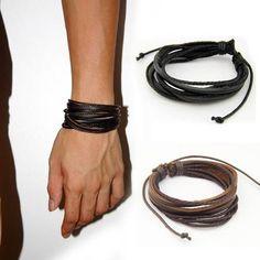 2PCS-Fashion-Multi-Layer-Woven-Leather-Men-Bracelet-Wristband-Bangle-Jewelry