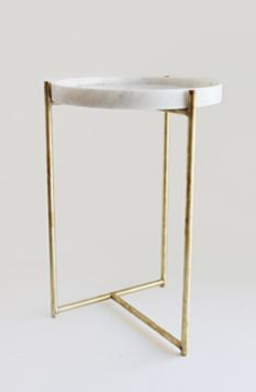 Oliver Marble & Brass tray table by Evie Group.