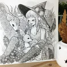 """4,731 Likes, 23 Comments - Alisa Vysochina (@alisavysochina) on Instagram: """"Finished picture of the little witch with her woodland friends, I've been working and recording for…"""""""