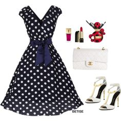 NAVY .... P DOTS ...! by betty-sanga on Polyvore featuring moda, Tom Ford, Chanel, Lancôme and Marc Jacobs
