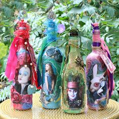 Mark Montano: Alice Through The Looking Glass Mixed Media Bottles