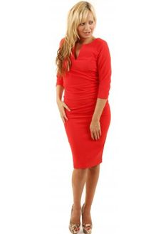 Charming Red Draped Side Sleeved Pencil Dress