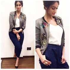 Rate her look Ileana D'Cruz in Hemant Nandita Jacket for Rustom promotions ❤❤❤ . Ileana D'cruz, Bollywood Outfits, Bollywood Fashion, Bollywood Actress, Western Dresses, Western Wear, Indian Celebrities, Indian Outfits, Indian Actresses