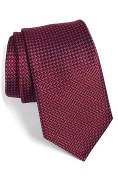Men's Nordstrom 'Micro Round Neat' Woven Silk Tie