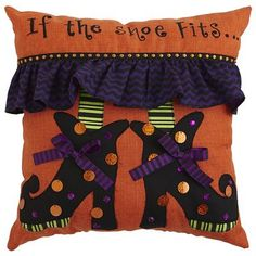 """If the Shoe Fits"" Halloween Pillow. $24.95. PIER ONE"