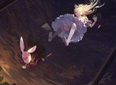 alice_in_wonderland alice_(wonderland) blonde_hair bunny clouds coaoto dress kneehighs night stars white_rabbit
