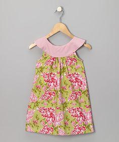 Green & Pink Blossom Yoke Dress - Infant, Toddler & Girls