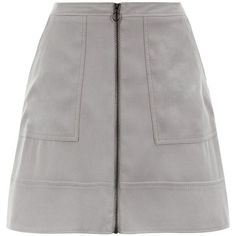 Grey Suedette Zip Front Skirt ($20) ❤ liked on Polyvore featuring skirts, mini skirts, front zipper skirt, gray skirt, summer skirts, flare skirt and zipper skirt