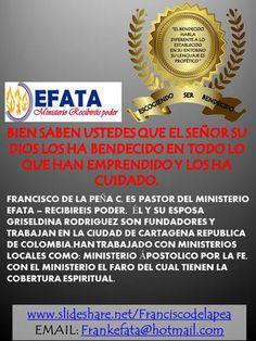 EL MINISTERIO EFATA-RECIBIREISPODER TE BRINDA OPCIONES FRESCAS EN EDICIONES DE LIBROS, VÍDEOS,VIDA CRISTIANA,FOLLETOS Y TEMAS EN CONFERENCIAS. EN CD.AUDIOS-EL PASTOR FRANCISCO DE LA PEÑA ES ESCRITOR DE OBRAS QUE EL ESPÍRITU DE DIOS LE HA DADO CON UN AIRE FRESCO.