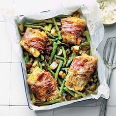 Groene asperges met kabeljauw