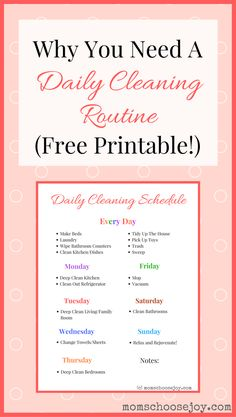 Why You Need A Daily Cleaning Routine (Free Printable!) A daily cleaning routine will help you save time and keep your home clean! I laminated this daily cleaning checklist printable to help keep me motivated. It works! House Cleaning Tips, Deep Cleaning, Cleaning Hacks, Cleaning Wipes, Diy Hacks, Cleaning Routines, Cleaning Rota, Motivation Cleaning, Toilet Cleaning