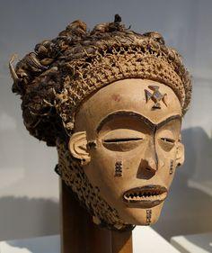 Pwo mask, Angola, Chokwe people, view 1, mid 20th century, wood, raffia, twine - Chazen Museum of Art - DSC01739.JPG