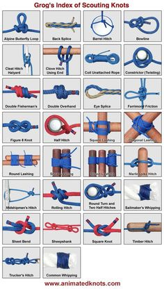 Animated knots! Watch knots tie themselves - tons of scout-specific knots demonstrated.