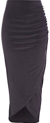 #River Island             #Skirt                    #Dark #grey #ruched #wrap #skirt                    Dark grey ruched wrap skirt                                                   http://www.seapai.com/product.aspx?PID=227878