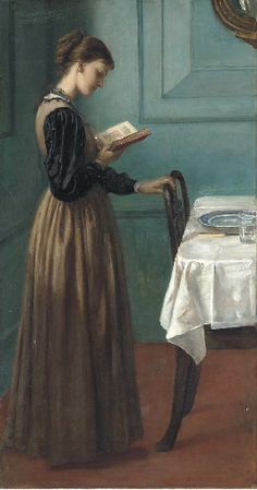 "A woman in somber day dress looks like she is supposed to be laying the table, but has been pulled in by the book in her hand. ""Study of a Girl Reading"" by Valentine Cameron Prinsep (1838-1904)"
