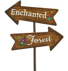 Direct your mini garden friends to an enchanted forest with this mini sign. Enchanted Forest Theme, Enchanted Garden, Enchanted Forest Decorations, Forest Classroom, Fair Theme, Weathered Paint, Prom Themes, Fairy Birthday Party, Little Red Hen