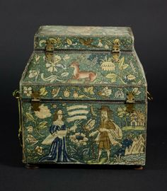 A Fine Charles II Needlework Casket, embroidered with panels of animals and figure groups including a lion & unicorn, mother & child and insects & birds amidst flowering plants and fruits.