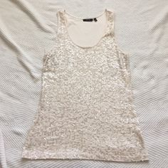 Sequined tank top Never worn: beautiful beige color Apt. 9 Tops Tank Tops