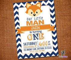 Little Fox Invitation Birthday Invite Typographic Custom Fox Invitation Fall Chevron Orange Blue Printable Digital File on Etsy, $10.00