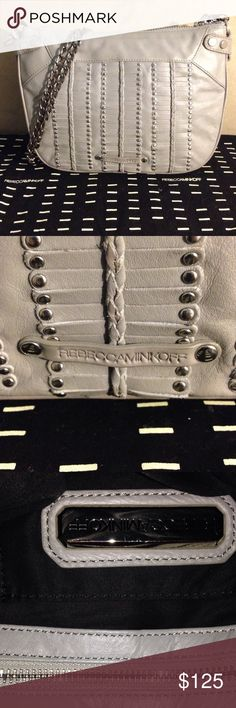 """Rebecca Minkoff Grey leather Chain Bag Light grey leather with silver hardware. 3 compartments. Several pockets within. Never Used. Very unique Minkoff bag. Detachable chain strap. Comes with dust bag. 10""""L x 8"""" H x 3"""" W. Great Bag! Rebecca Minkoff Bags Crossbody Bags"""